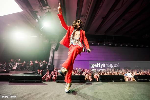 Jared Leto of 30 Seconds To Mars performs in concert at Sant Jordi Club on April 13 2018 in Barcelona Spain