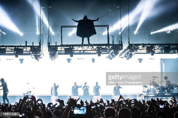 Jared Leto of 30 Seconds to Mars performs live on stage at Motorpoint Arena on November 14 2013 in Cardiff United Kingdom
