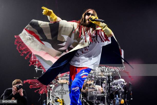 Jared Leto of 30 Seconds To Mars performs on stage at Wizink Center on April 12, 2018 in Madrid, Spain.