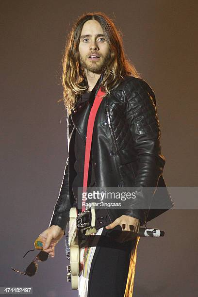 Jared Leto of American rock band Thirty Seconds To Mars performs at Oslo Spektrum on February 23 2014 in Oslo Norway