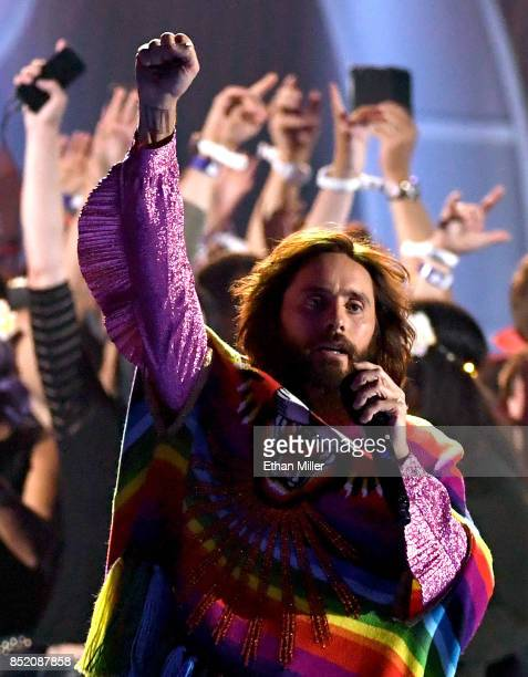 Jared Leto of music group Thirty Seconds to Mars performs among festivalgoers onstage during the 2017 iHeartRadio Music Festival at TMobile Arena on...