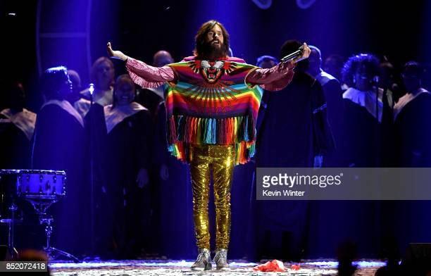 Jared Leto of music group Thirty Seconds to Mars performs during the 2017 iHeartRadio Music Festival at TMobile Arena on September 22 2017 in Las...