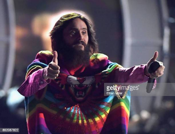 Jared Leto of music group Thirty Seconds to Mars performs onstage during the 2017 iHeartRadio Music Festival at TMobile Arena on September 22 2017 in...