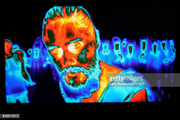 Jared Leto of Thirty Seconds to Mars is seen performing through thermal technology cameras on a television screen during the 2017 MTV Video Music...