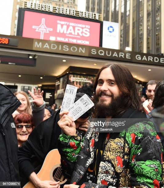 Jared Leto of 'Thirty Seconds To Mars' launches the new album 'America' at Madison Square Garden on April 2 2018 in New York City