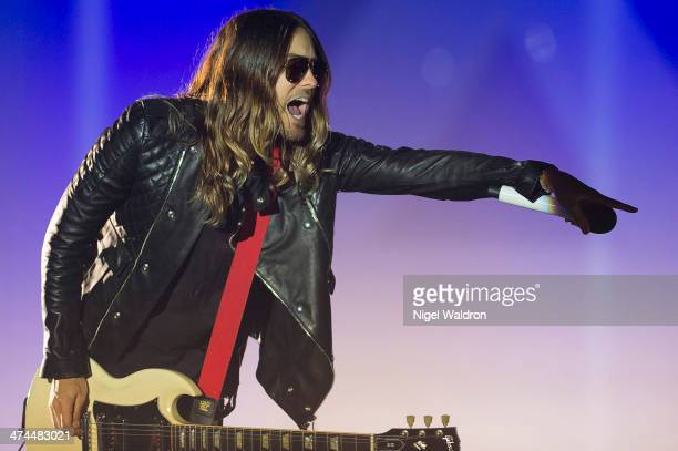 Jared Leto of Thirty Seconds To Mars performs at Oslo Spektrum on February 23 2014 in Oslo Norway
