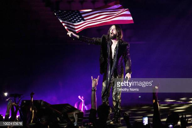 Jared Leto of Thirty Seconds to Mars performs at The Forum on July 19 2018 in Inglewood California