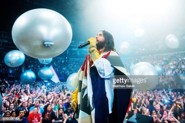 Jared Leto of Thirty Seconds to Mars performs at the O2 Arena on March 27 2018 in London United Kingdom