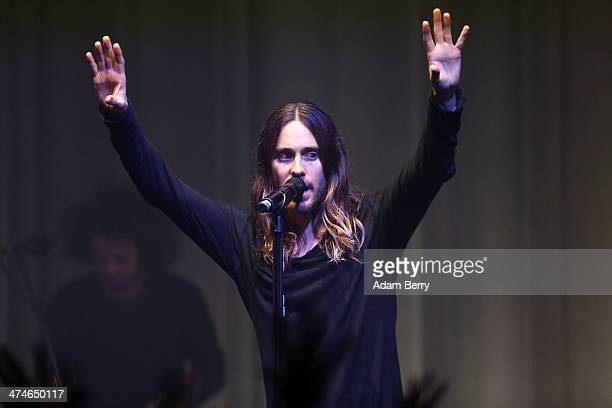 Jared Leto of Thirty Seconds To Mars performs during a concert at the Apple store on February 24, 2014 in Berlin, Germany.