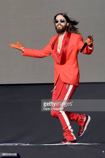 Jared Leto of Thirty Seconds to Mars performs during day 2 of BBC Radio 1's Biggest Weekend 2018 held at Singleton Park on May 27 2018 in Swansea...