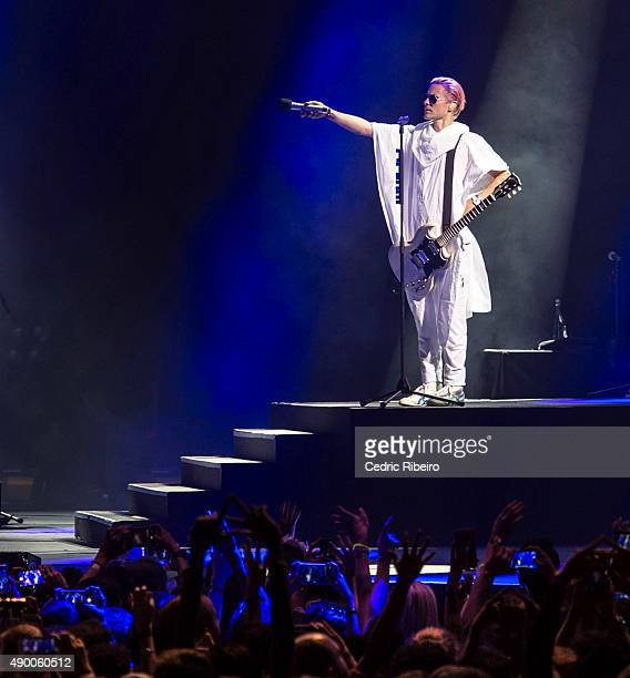 Jared Leto of Thirty Seconds to Mars performs during Dubai Music Week 2015 at Dubai World Trade Centre on September 25 2015 in Dubai United Arab...