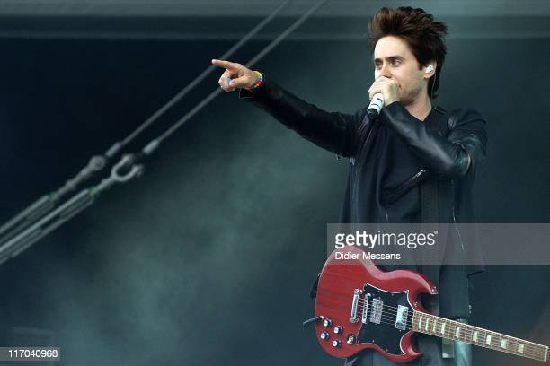 Jared Leto of Thirty Seconds To Mars performs on stage during the third and final day of Pinkpop Festival at Megaland on June 13, 2011 in Landgraaf,...