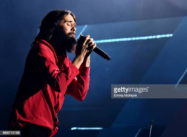 Jared Leto of Thirty Seconds to Mars performs onstage during KROQ Almost Acoustic Christmas 2017 at The Forum on December 9 2017 in Inglewood...