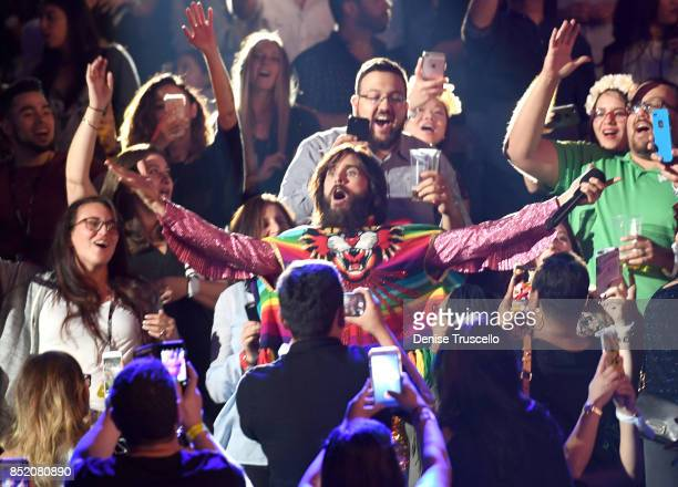 Jared Leto of Thirty Seconds to Mars performs onstage during the 2017 iHeartRadio Music Festival at TMobile Arena on September 22 2017 in Las Vegas...