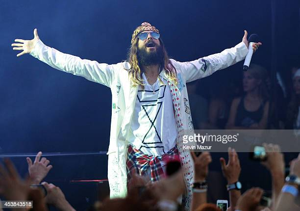 Jared Leto of Thirty Seconds to Mars performs onstage during the 'Carnivores' tour at Nikon at Jones Beach Theater on August 19 2014 in Wantagh New...