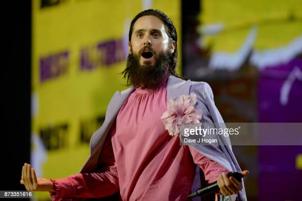 Jared Leto of Thirty Seconds to Mars speaks on stage during the MTV EMAs 2017 held at The SSE Arena Wembley on November 12 2017 in London England
