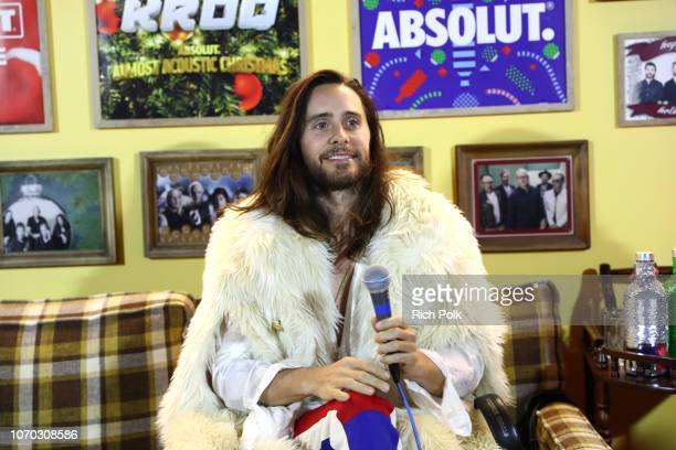 Jared Leto of Thirty Seconds to Mars speaks suring an interview at KROQ Absolut Almost Acoustic Christmas at The Forum on December 8 2018 in...