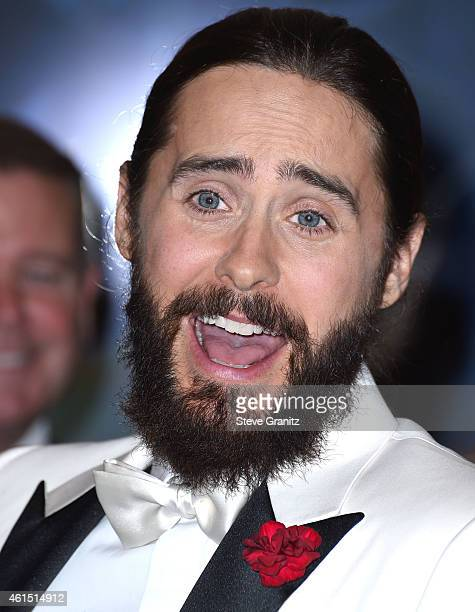 Jared Leto poses in the 72nd Annual Golden Globe Awards at The Beverly Hilton Hotel on January 11 2015 in Beverly Hills California