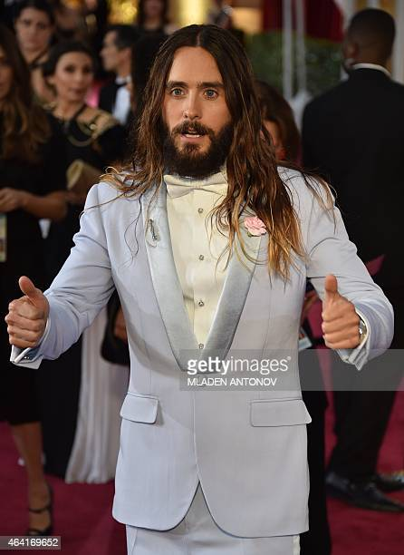 Jared Leto poses on the red carpet for the 87th Oscars on February 22 2015 in Hollywood California AFP PHOTO/ MLADEN ANTONOV