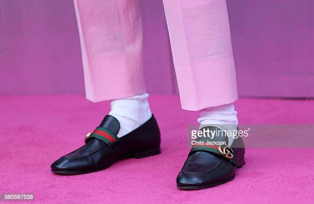 Jared Leto shoe detail attends the European Premiere of Suicide Squad at the Odeon Leicester Square on August 3 2016 in London England
