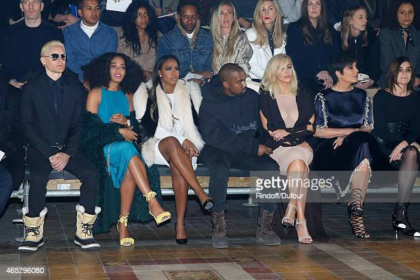 Jared Leto Solange Knowles Kelly Rowland Kanye West Kim Kardashian her mother Kris Jenner and Karine Roitfeld attend the Lanvin show as part of the...