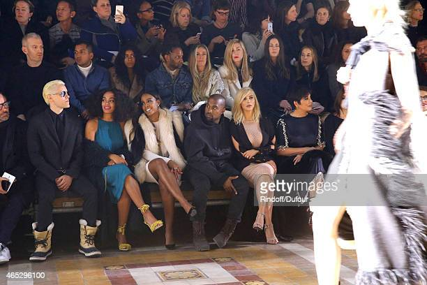 Jared Leto Solange Knowles Kelly Rowland Kanye West Kim Kardashian and her mother Kris Jenner attend the Lanvin show as part of the Paris Fashion...