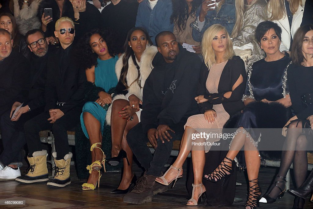 Jared Leto, Solange Knowles, Kelly Rowland, Kanye West, Kim Kardashian, Kris Jenner and Carine Roitfeld attend the Lanvin show as part of the Paris Fashion Week Womenswear Fall/Winter 2015/2016 on March 5, 2015 in Paris, France.