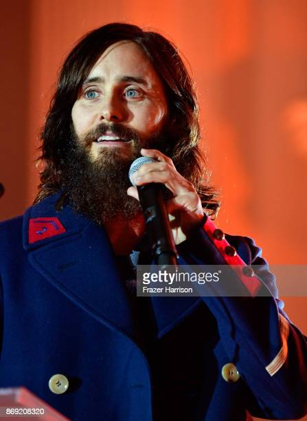 Jared Leto speaks onstage during Spotify's Inaugural Secret Genius Awards hosted by Lizzo at Vibiana on November 1 2017 in Los Angeles California