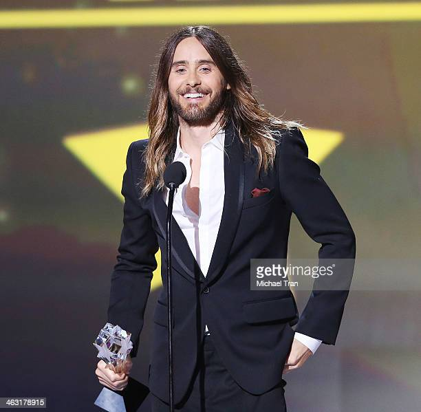 Jared Leto speaks onstage during the 19th Annual Critics' Choice Movie Awards held at Barker Hangar on January 16, 2014 in Santa Monica, California.