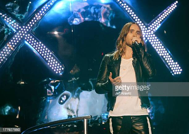 Jared Leto speaks onstage during the 2013 MTV Video Music Awards at the Barclays Center on August 25 2013 in the Brooklyn borough of New York City