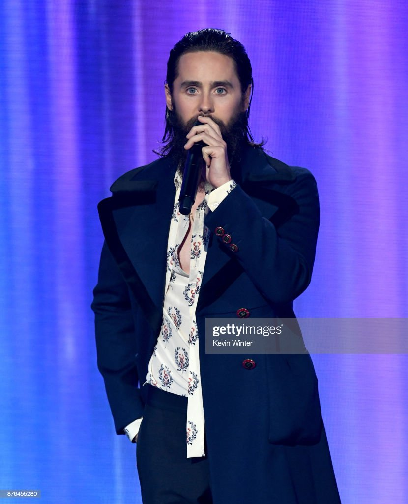 Jared Leto speaks onstage during the 2017 American Music Awards at Microsoft Theater on November 19, 2017 in Los Angeles, California.