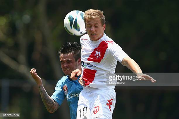 Jared Lum of Sydney FC and Stefan Mauk of the Heart compete for the ball during the round seven Youth League match between Sydney FC and Melbourne...