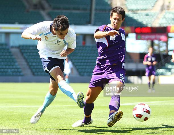 Jared Lum of Sydney takes a shot at goal during the round 10 Youth League match between Sydney FC and the Perth Glory at WIN Stadium on November 20...