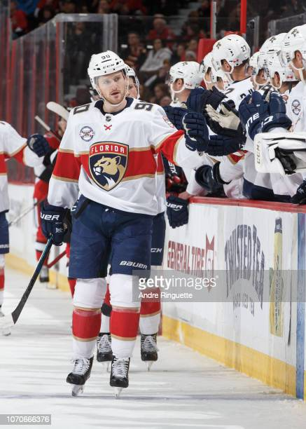 Jared McCann of the Florida Panthers celebrates a goal against the Ottawa Senators at Canadian Tire Centre on November 19 2018 in Ottawa Ontario...