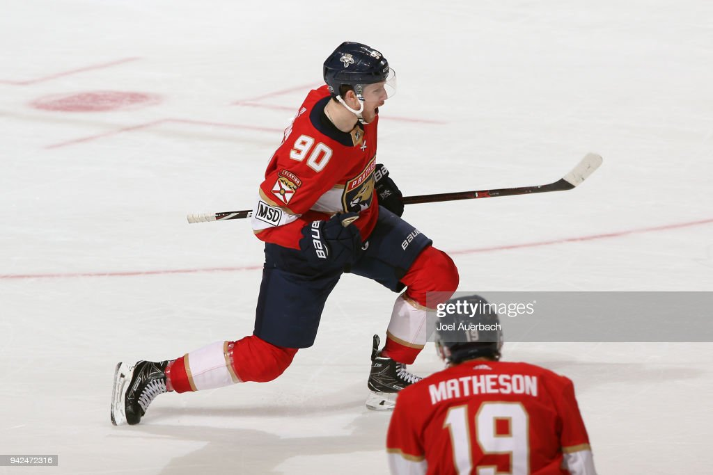 Jared McCann #90 of the Florida Panthers celebrates after scoring the game winning goal against the Boston Bruins at the BB&T Center on April 5, 2018 in Sunrise, Florida. The Panthers defeated the Bruins 3-2.