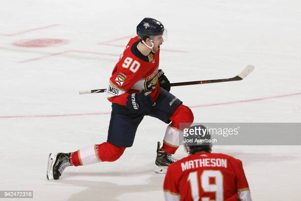 Jared McCann of the Florida Panthers celebrates after scoring the game winning goal against the Boston Bruins at the BBT Center on April 5 2018 in...