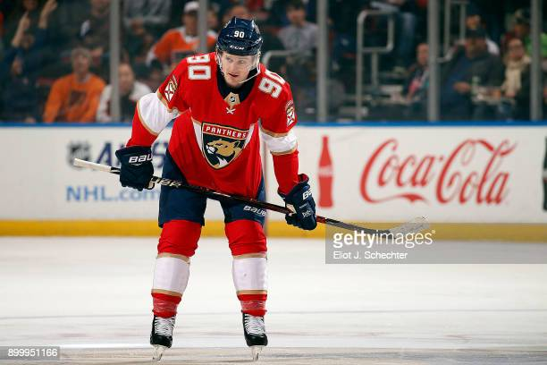 Jared McCann of the Florida Panthers gets set for a face off against the Philadelphia Flyers at the BBT Center on December 28 2017 in Sunrise Florida