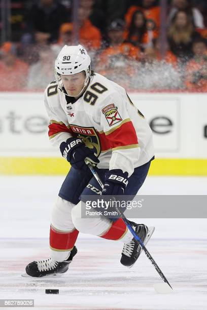 Jared McCann of the Florida Panthers in action against the Philadelphia Flyers during the first period at Wells Fargo Center on October 17 2017 in...