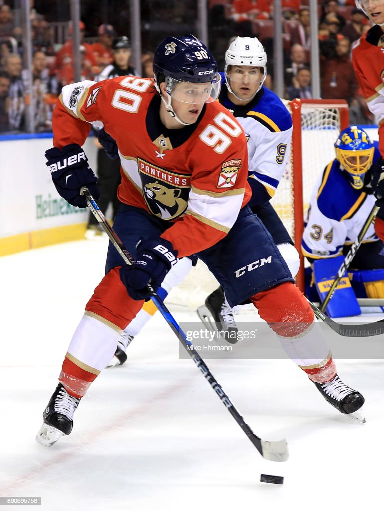 Jared McCann #90 of the Florida Panthers passes during a game against the St. Louis Blues at BB&T Center on October 12, 2017 in Sunrise, Florida.