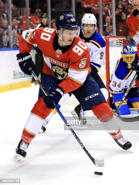 Jared McCann of the Florida Panthers passes during a game against the St Louis Blues at BBT Center on October 12 2017 in Sunrise Florida