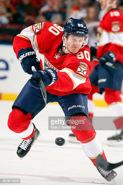 Jared McCann of the Florida Panthers shoot the puck against the New York Islanders at the BBT Center on November 12 2016 in Sunrise Florida