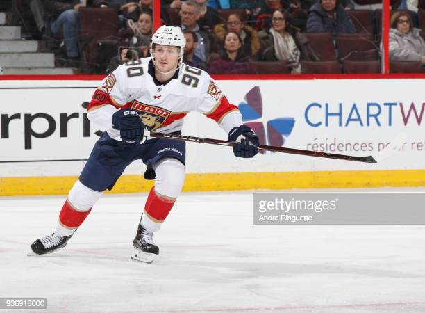 Jared McCann of the Florida Panthers skates against the Ottawa Senators at Canadian Tire Centre on March 20 2018 in Ottawa Ontario Canada