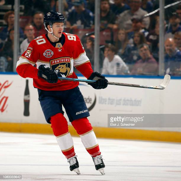 Jared McCann of the Florida Panthers skates for position against the Toronto Maple Leafs at the BBT Center on December 15 2018 in Sunrise Florida