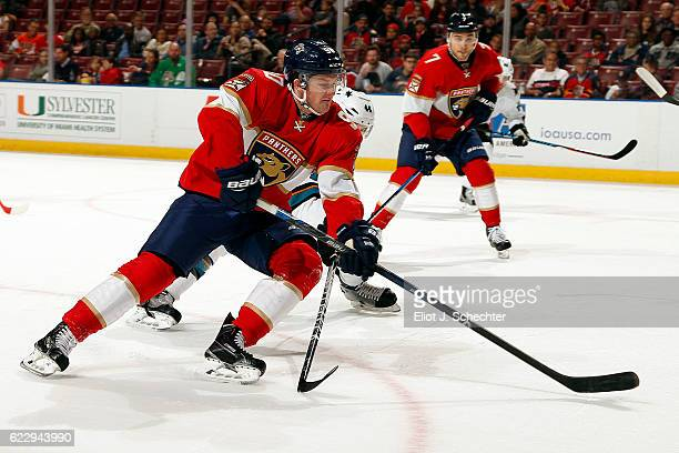 Jared McCann of the Florida Panthers skates for the puck against the San Jose Sharks at the BBT Center on November 10 2016 in Sunrise Florida