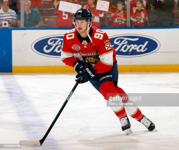 Jared McCann of the Florida Panthers skates on the ice during warm ups prior to the start of the game against the Columbus Blue Jackets at the BBT...