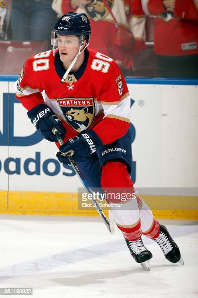 Jared McCann of the Florida Panthers skates on the ice during warm ups prior to the start of the game against the Chicago Blackhawks at the BBT...