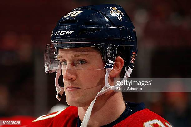 Jared McCann of the Florida Panthers skates on the ice prior to the start of the game against the Boston Bruins at the BBT Center on November 1 2016...