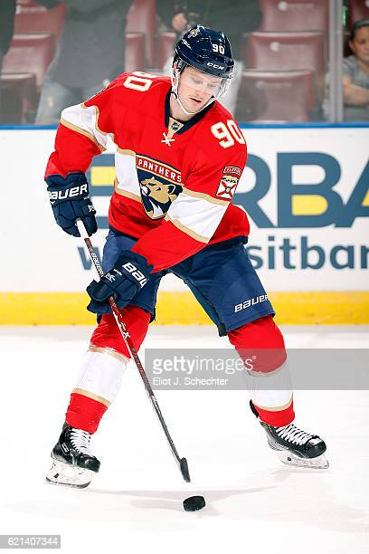 Jared McCann of the Florida Panthers skates on the ice prior to the start of the game against the New Jersey Devils at the BBT Center on November 3...