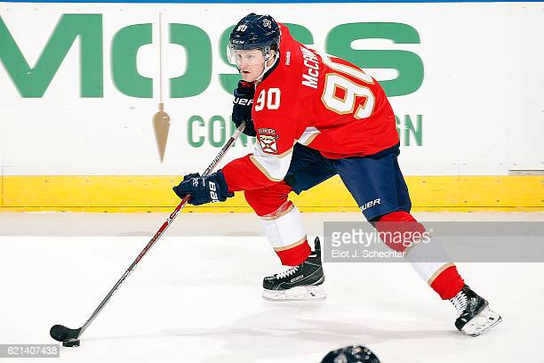 Jared McCann of the Florida Panthers skates with the puck against the New Jersey Devils at the BBT Center on November 3 2016 in Sunrise Florida