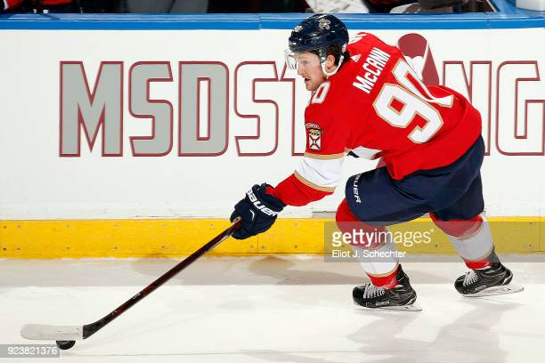 Jared McCann of the Florida Panthers skates with the puck against the Washington Capitals at the BBT Center on February 22 2018 in Sunrise Florida